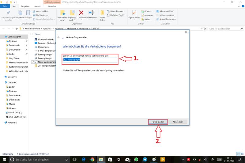 Windows-Explorer-SendTo-Ordner-Verknüpfung-VLC-auswählen-Weiter-Fertig-stellen.png