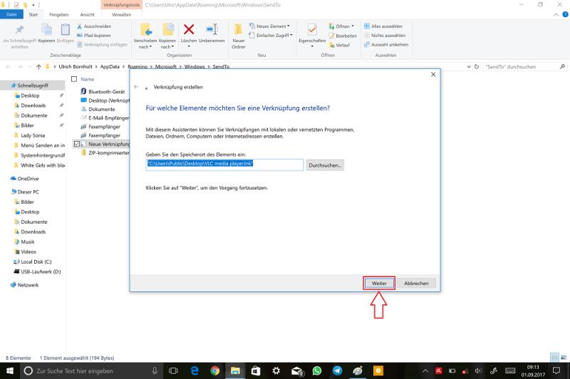 Windows-Explorer-SendTo-Ordner-Verknüpfung-VLC-auswählen-Weiter.png