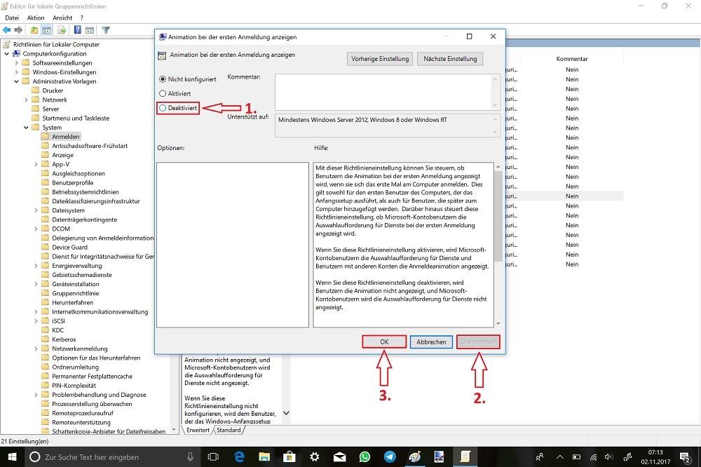Ausführen-gpedit.msc-Computerkonfiguration-Administrative-Vorlage-System-Anmelden-Animation-bei-der-ersten-Anmeldung-anzeigen-Richtlinieneinstellung-bearbeiten-Deaktivieren.jpg