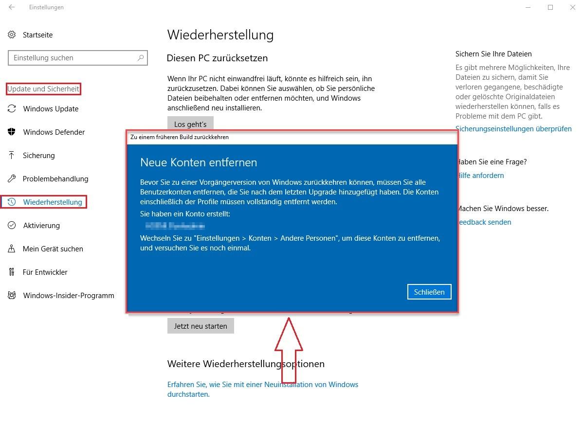 Windows-Einstellungen-Update-und-Sicherheit-Wiederherstellung-Zu-einem-frührenen-Build-zurückkehren-Los-gehts-Neue-Konten-entfernen.jpg