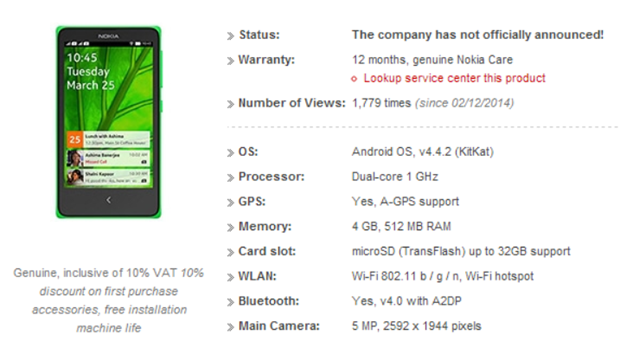 Das sind die Daten des Nokia AX110 Normandy