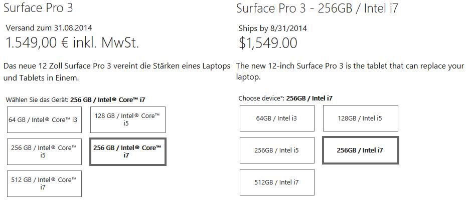 Microsoft Surface 3 Pro, Preis