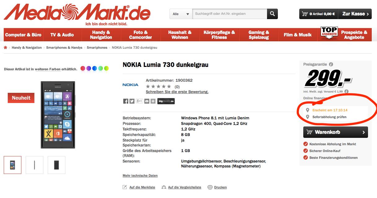 Lumia 730 Media Markt