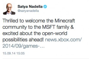 Satya Minecraft Tweet