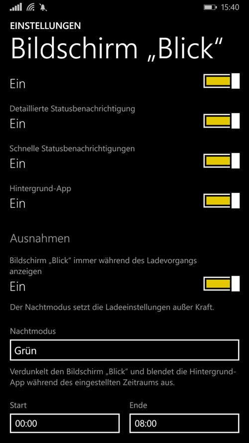 Einstellungen für den Lumia Glance Screen