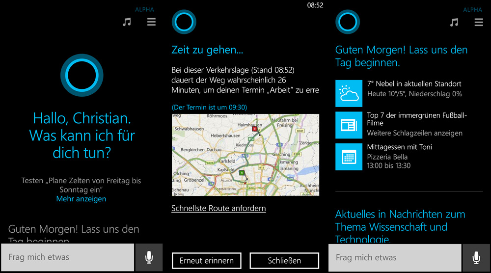 Cortana-Deutsch-Funktionen