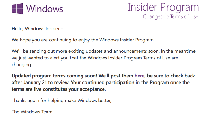 Windows 10 Insider Mail