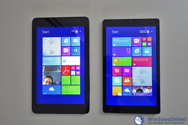 Größenvergleich: Archos 80 Cesium (rechts) gegen Dell Venue Pro 8 (links)