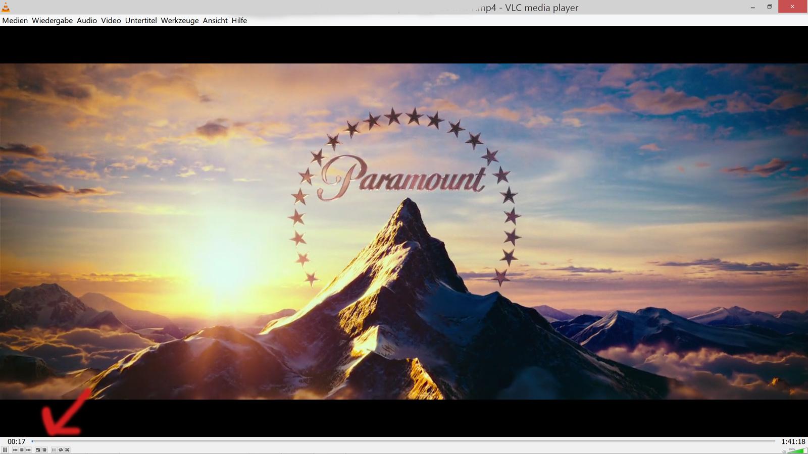 Screenshot vom QHD+ Display - Mini-Schaltfächen im VLC Player