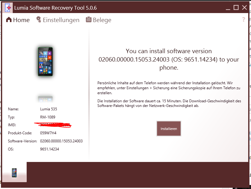 lumia software recovery tool 5.0.0.18