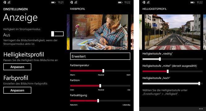 Lumia 630 Farbprofil und Helleigkeit Einstellungen