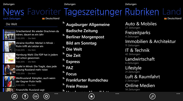 Zeitungen-App-Screenshots