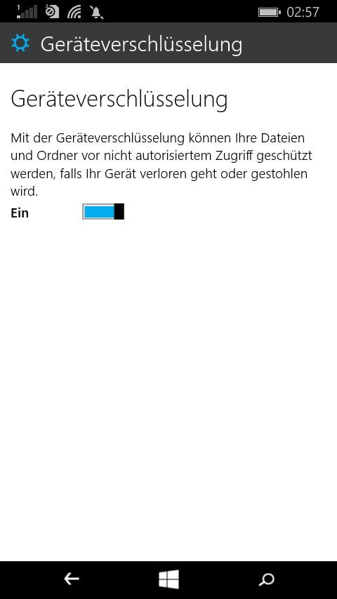 Geräteverschlüsselung in Windows 10 für Phones