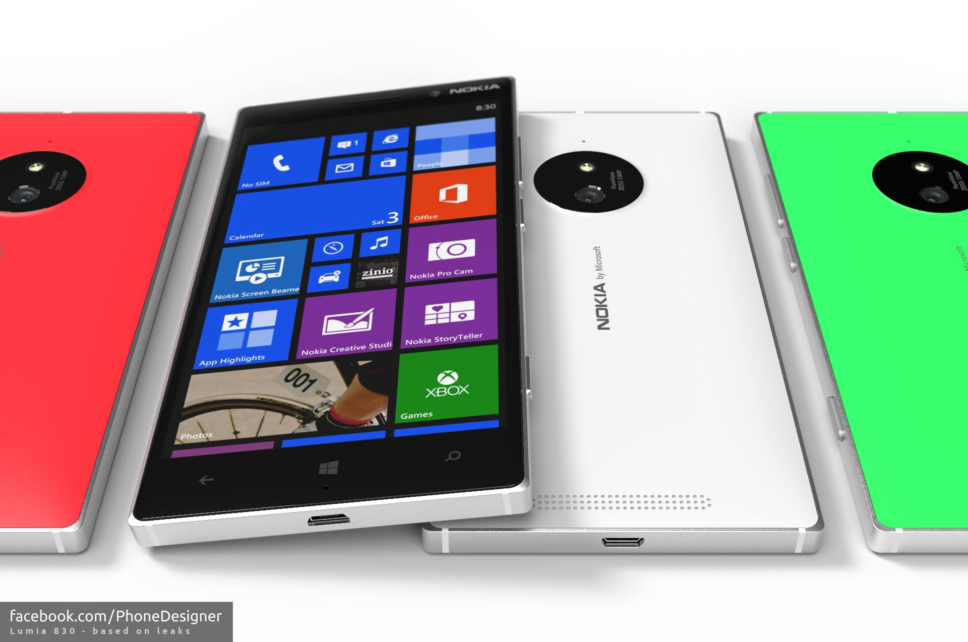 PhoneDesigner Lumia 830 Renderings