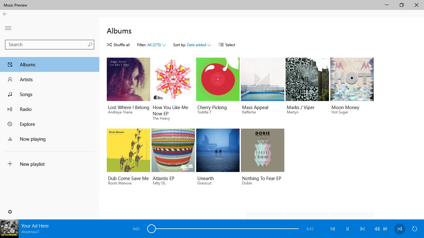 Musik im Windows Store