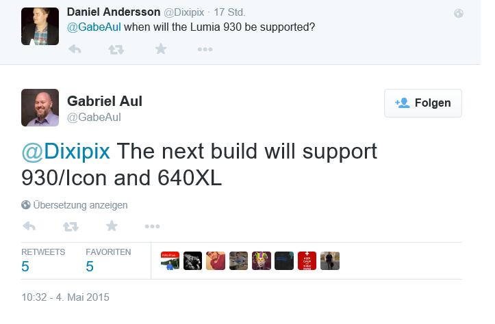 Gabe Auls Tweet über die Verfügbarkeit von Windows 10 für 930, Icon und 640XL
