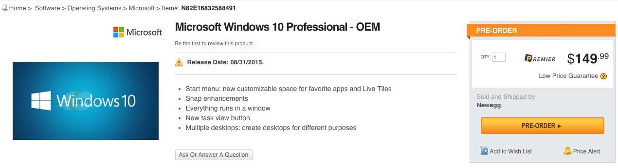 Retail Windows 10