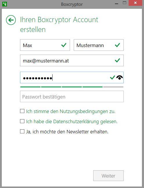 Boxcrypter Anmeldung