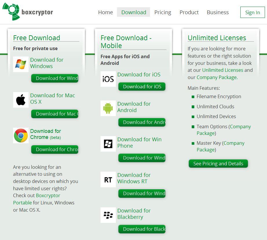 Boxcrypter Plattform- und Appunterstützung
