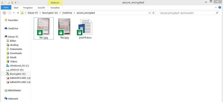 Boxcrypter: Verschlüsselte Dateien