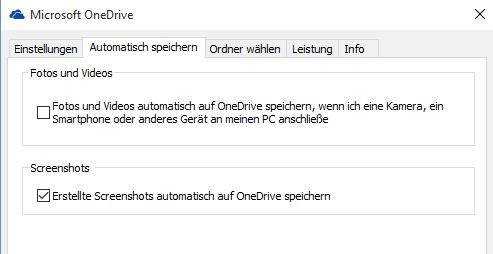 Einstellungen OneDrive