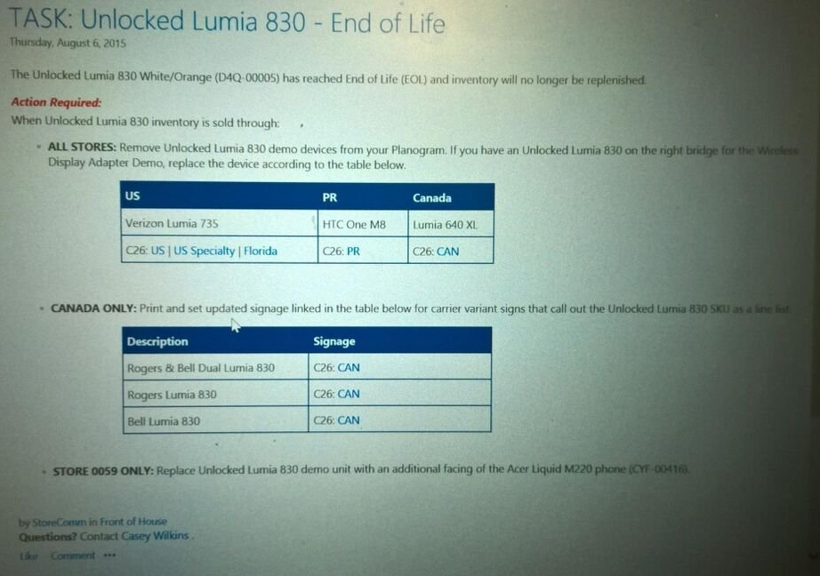 Lumia 830 - End of Life
