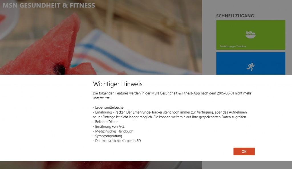 MSN Health & Fitness - Funktionen entfernt