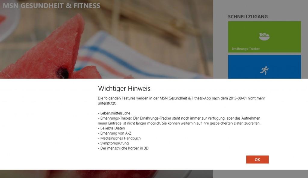 MSN Health & Fitness - Funktionen entfernt