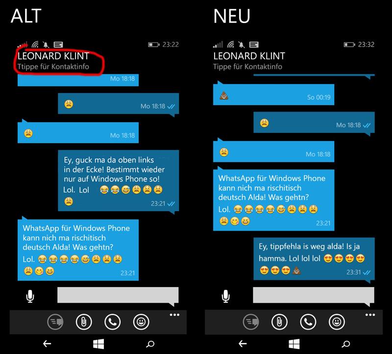 WhatsApp-Update-Tippfehler