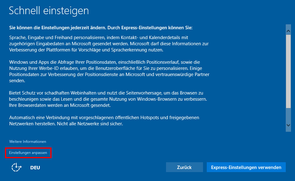 Windows 10 angepasste Installation