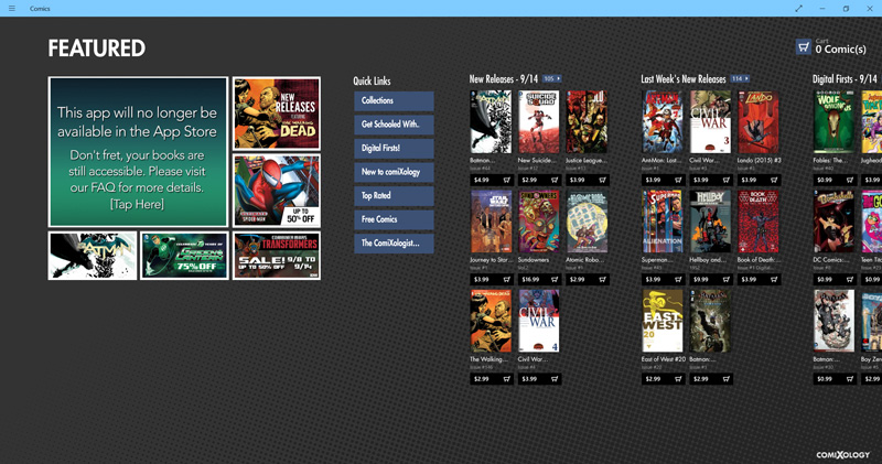 Comixology-stellt-Windows-App-ein