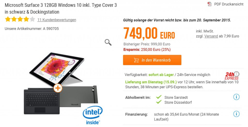 Surface 3 Angebot NBB
