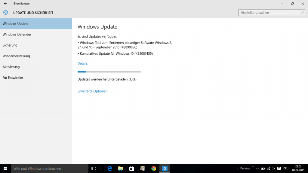 Windows 10 kummulatives Update KB3081455