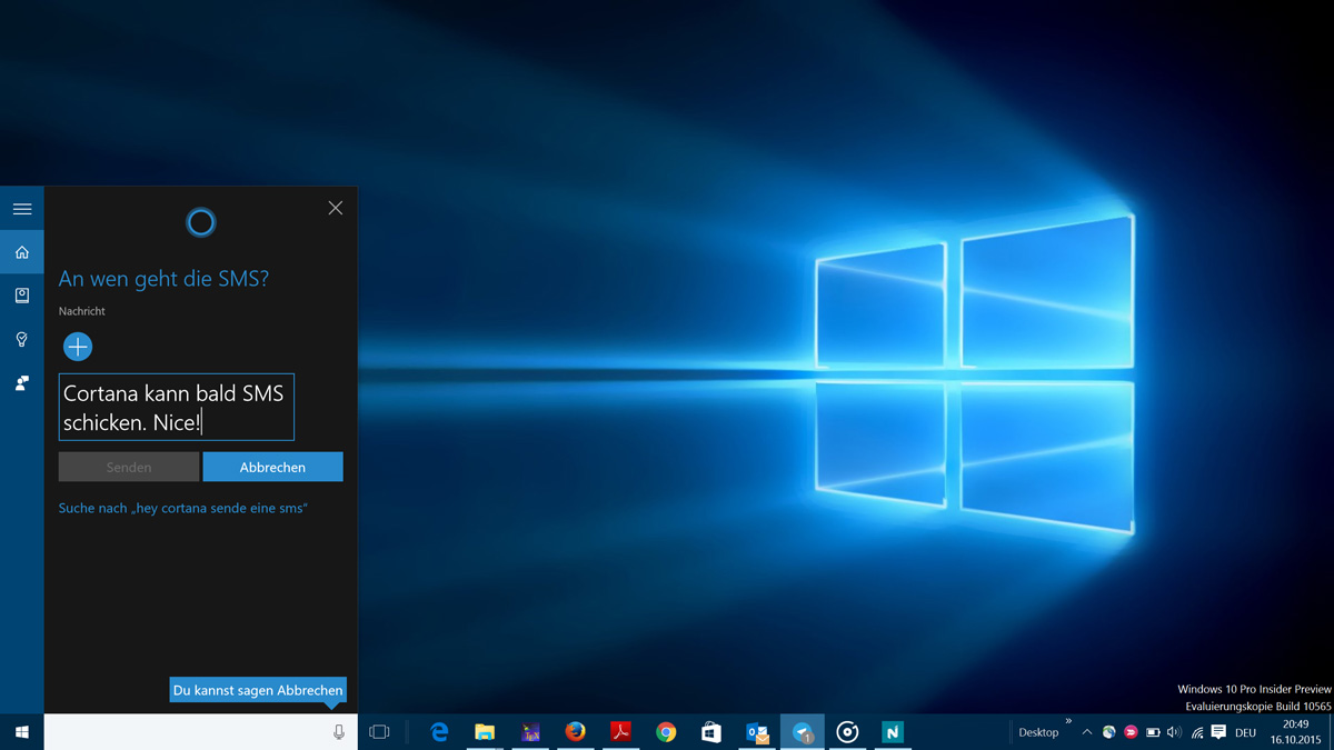 how to send sms from cortana on pc