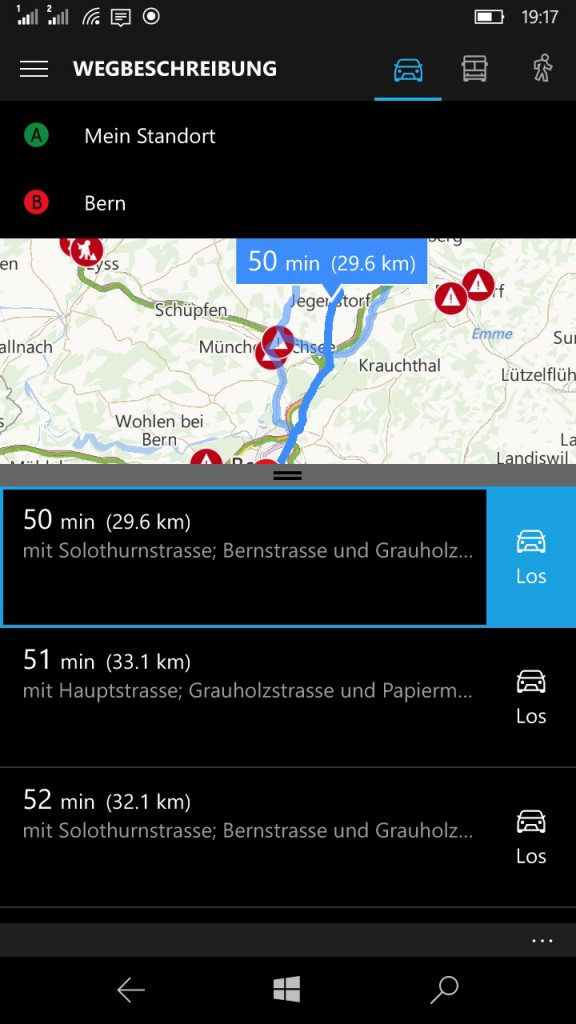 Karten-App Alternative Routen