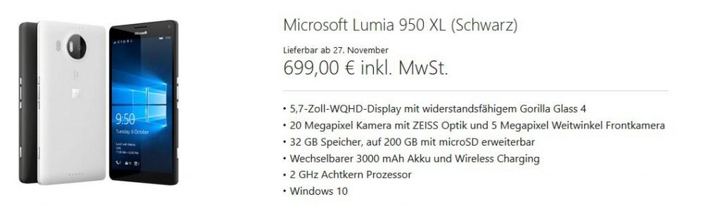 Lumia 950 XL DE Store