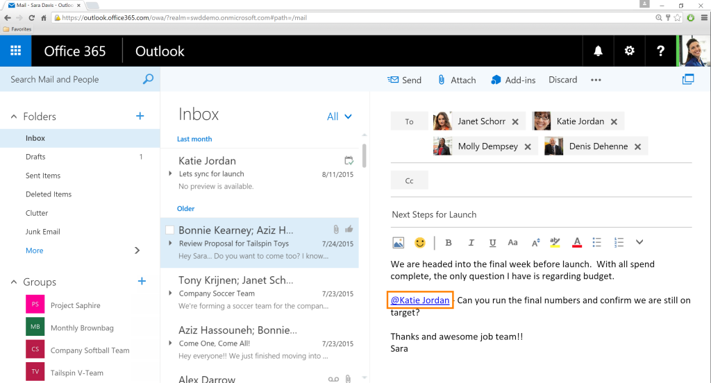 Outlook-Mentions