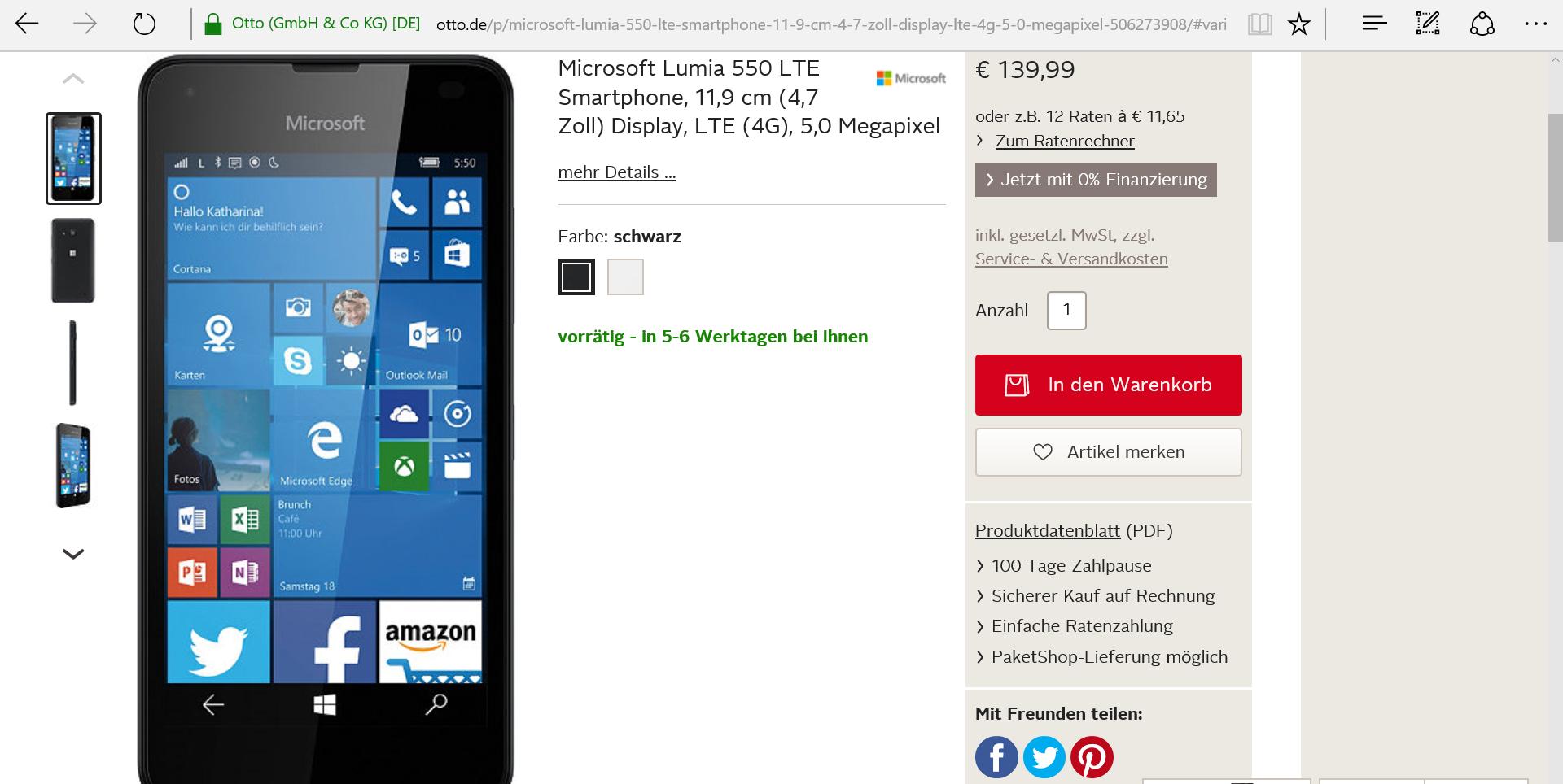 Lumia 550 Otto.de