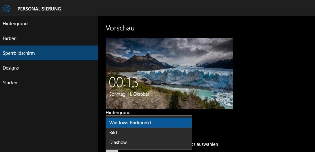 Windows Spotlight Einstellungen
