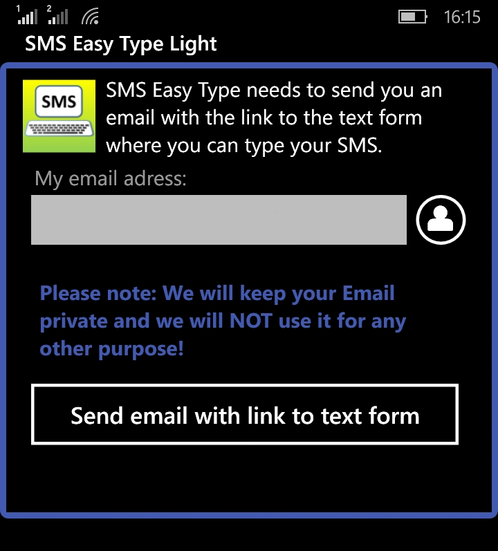 SMS Easy Type E-Mailadresse eingeben