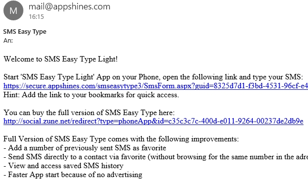 SMS Easy Type Mail