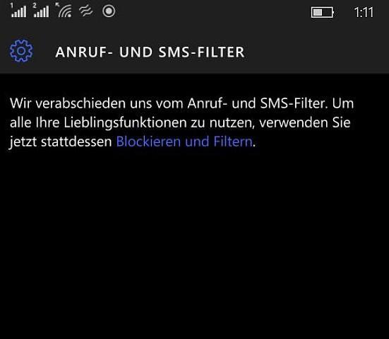 Anruf und SMS-Filter Ende
