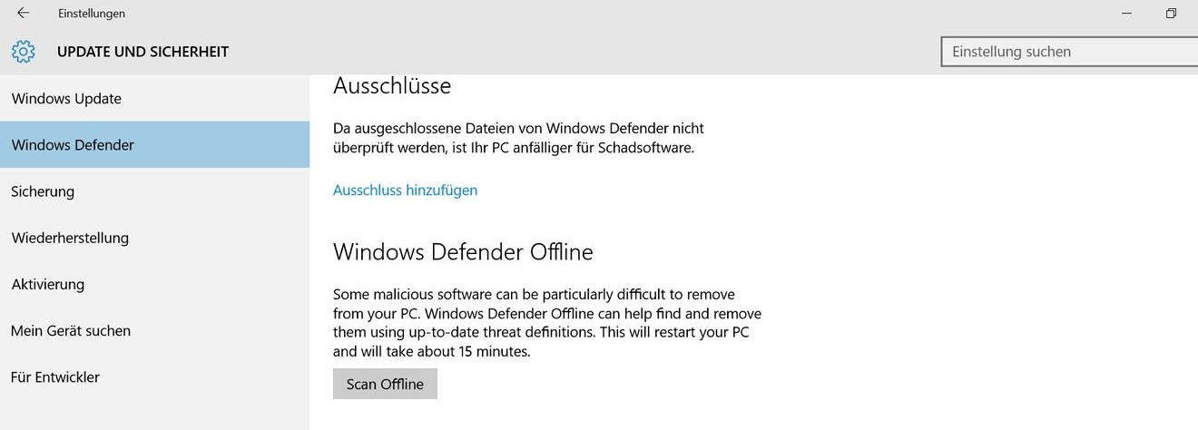 Windows Defender Offlione