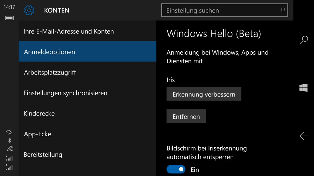 Windows Hello Einstellungen