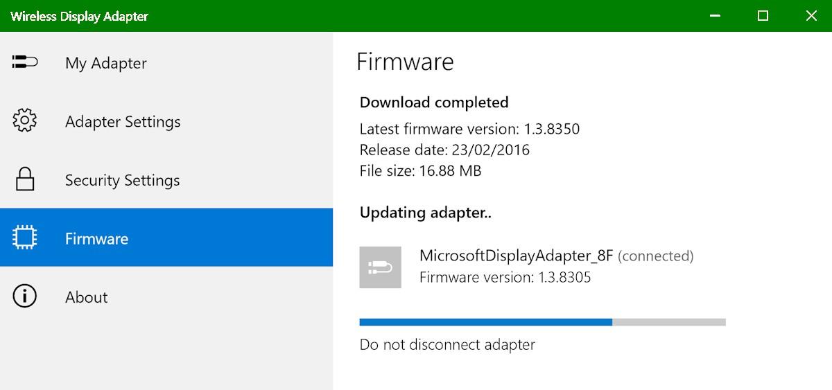 microsoft wireless display adapter firmware cannot update