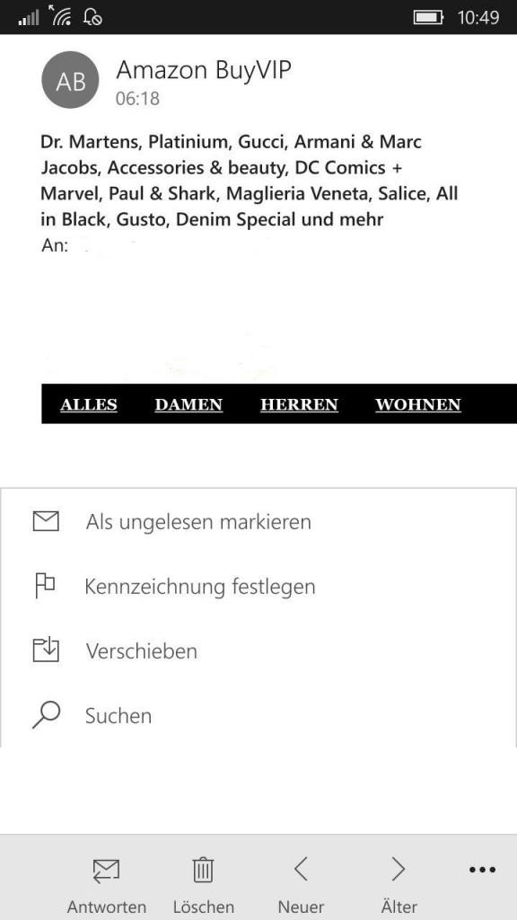 """Neue Funktion """"Suchen"""" in Outlook Mail."""