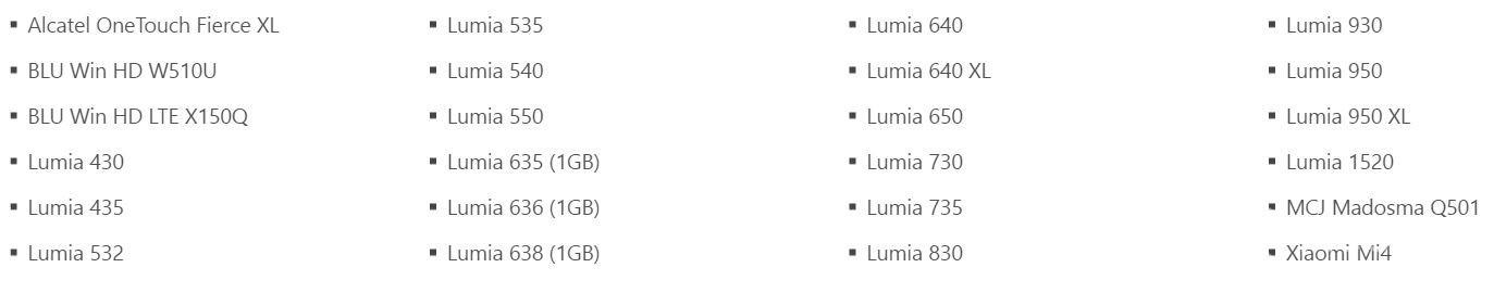 Diese Lumia's erhalten das W10M-Upgrade.