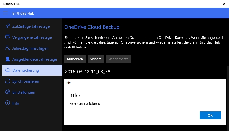 OneDrive Sicherung Birthday Hub