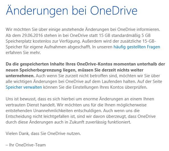 OneDrive Speicherkürzung