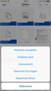 OneDrive iOS Menü